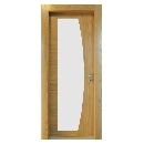 Porte bois contemporaine Verre en arc
